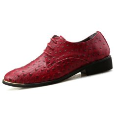 PINSV Men's Business Leather Shoes Oxfords (Red) (Intl)
