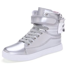 PINSV Men's Fashion Sneakers With High Cut (Silver) (Intl)