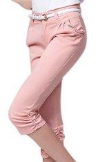 Plain Casual Cotton Spandex Regular Womens Pants Pink