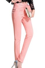 Plain Casual Regular Womens Pants Pink