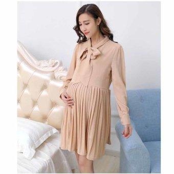 df5b2fcf54549 Plaka Large Size Maternity Skirt Casual Ledies Dresses Long Sleeve  ,Apricot,M