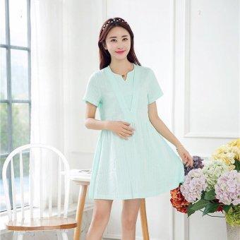 db6a5e0f234ae Plaka Maternity Cotton Short Sleeved Dress Skirt Pure Korean Summer Style  for Pregnant Women Green
