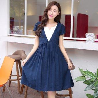 c933ec1f89836 Harga Plaka Maternity Cotton T-shirt Plus Skirt Pregnant Women Dress ...