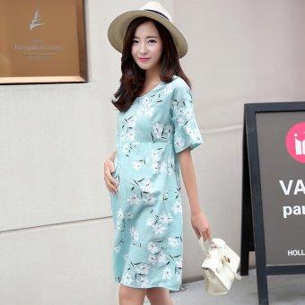 c282ad69a1ce9 Harga Plaka Maternity Dress Striped Short Sleeved Woman Skirt,Pink ...