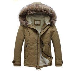PODOM Men's Faux Fur Long Trench Coat Hooded Parka Coats (Intl)