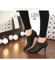Pointed Fine With The Bare Boots Heeled Ankle Boots Martin Boots Women - intl