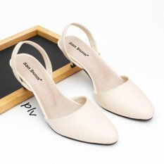 Pointed Toe Slingback Kitten Heels - Cream