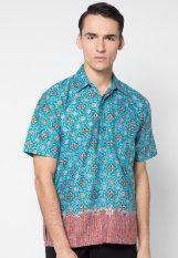 Pomona Batik Kemeja Lengan Pendek - Star Biru