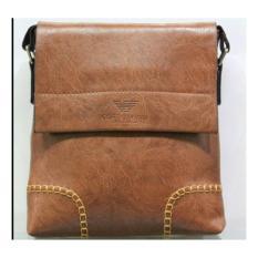 Pria Kasual Crossbody Bag Kurir Bisnis Tas Kulit Tas Bahu Bag Single  (Coklat) 186e7cfb2f