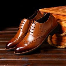 Pria Kulit Asli Sepatu Formal Dress Shoes Kantor Bisnis Sepatu Luxurious Geniune Leather Shoes Men's Formal Shoes Dress Shoes Brown