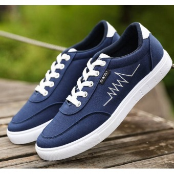 Pudding Men's Casual Canvas Shoes Blue