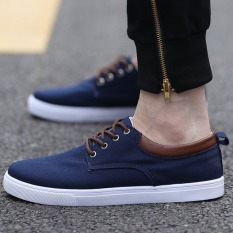 Pudding Men's Casual Shoes Canvas Shoes Student Navy Blue