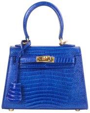 PurCattle Women's Fashion Cow Leather Simple Pattern Top Handle Summer Mini Satchel Handbag (Blue) (Intl)