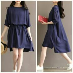 PusatFashion Sexy Dress Raina Casual Wanita - Navy Blue