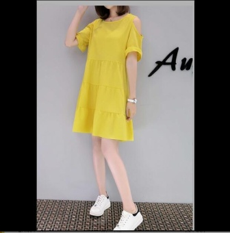QQ Korea Korean fashion large size A word dress Yellow - intl