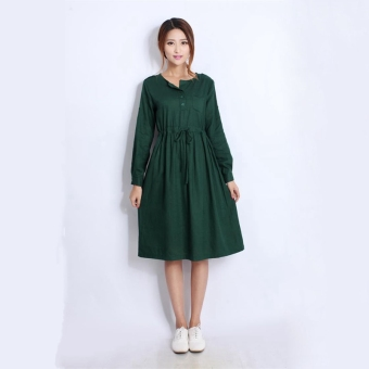 a5ed470670b19 Quality Linen Maternity Dresses Autumn Long Sleeve Clothes for Pregnant  Women Clothing for Pregnancy 2016 New