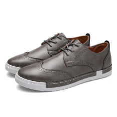 Queen Leather Shoes Bullock Men 's Shoes Casual Shoes (Gray) - Intl