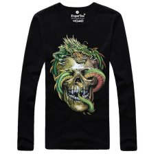 Queen Men's Fashion 3D Printed Long-sleeved Cotton T-shirt, Metal Rock Punk (LC Lv Long Ku Lu)