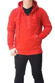 Quincy Jacket Zipper Hoodie Man Bright - Merah
