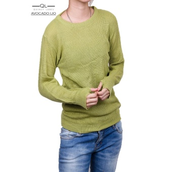 Quincy Label Erica Sweater Round Hand Rajut Wanita - Avocado ijo