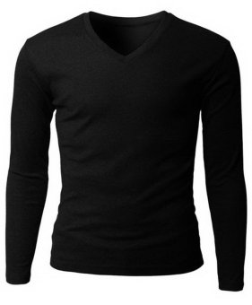 QuincyLabel Long Slevee V Neck - Black
