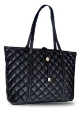 QuincyLabel Quilt Tote Bag Import - Black