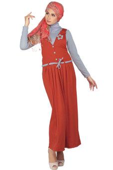 Raindoz Baju Muslim Wanita - Merah Bata