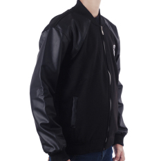Raindoz Jacket Combi Leather - Hitam
