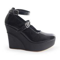 Raindoz Women Wedges Leather - Hitam