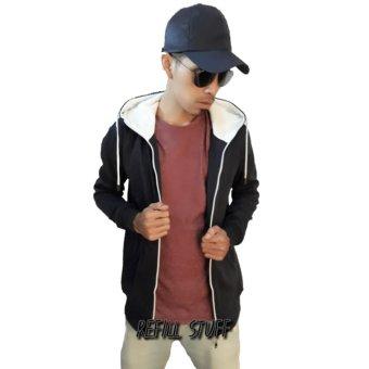 refill stuff jaket polos pria(hitam/putih)