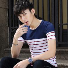 Remaja bergaris lengan pendek t-shirt (CD-DT012 pada Biru Merah)