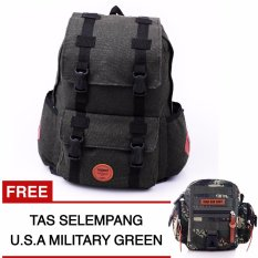 Respect Soldier Backpack Dark Grey + FREE Tas Selempang USA Millitary Green Hawk