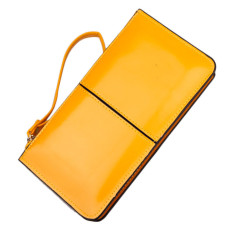 Retro Long Card Holder Purse Leather Stitching Lady Women Wallet Yellow