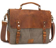 Retro Men Canvas Bag Crazy Horse Leather Retro Messenger Bag (Army Green) - Intl