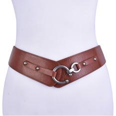 Retro Wide Women's Fashion Waist Belt Stretch Adjustable Metal Waist Band (Brown)