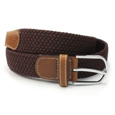 RHX Pop Casual Men Leather Braided Elastic Stretch Metal Buckle Golf Belt Waistband - Brown