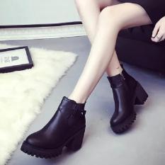 Rising Bazaar Europe Martin Boots Small Short Boots High-Heeled Women Round Boots (Black) - intl