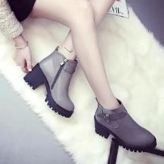Rising Bazaar Europe Martin Boots Small Short Boots High-Heeled Women Round Boots (Grey) - intl