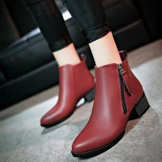 Rising Bazaar Women Boots Martin Boots Pointed Thick With Low Side Zipper England Boots (Red) - intl