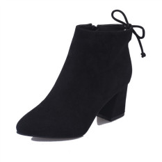 Rising Bazaar Women 's Boots Pointed High-Heeled Boots Ankle Boots With New Wave Boots (Black) - intl