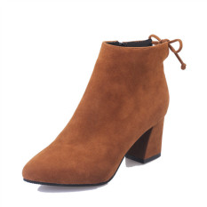 Rising Bazaar Women 's Boots Pointed High-Heeled Boots Ankle Boots With New Wave Boots (Brown) - intl