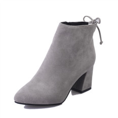 Rising Bazaar Women 's Boots Pointed High-Heeled Boots Ankle Boots With New Wave Boots (Grey) - intl