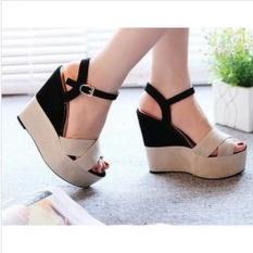 RSM Sepatu Wedges Wanita S-004- Cream Hitam