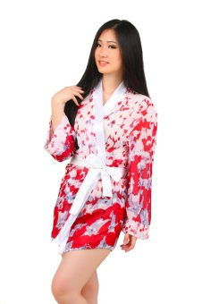 Ruby LZ-790 Sexy White Red Long Sleeves Lingerie Kimono