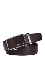 Sammons Men Leather Waist Strap Belt Waistband Automatic Plate Buckle Dress (Brown)
