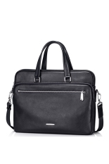 SAMMONS Men's Real Genuine Leather Purse Briefcase Portfolio Business Hand Bag Tote Laptop (Black)