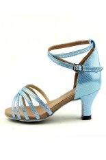 Sandal anak perempuan dewasa latin musim panas sepatu untuk anak sepatu dansa salsa (biru)