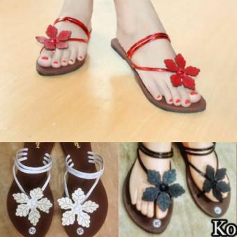 Sandal Bunga Laser (Merah/Hitam/Putih/Krem/Coklat)