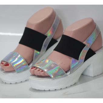 sandal heels wanita -satu ban silver