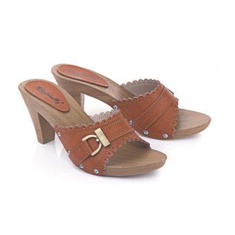 Sandal High Heels Wanita | Sendal Cewek Warna Coklat - LJI 725